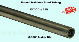 Round Tubing 304 Stainless Steel 1 4 Od X 6 Ft Welded 0 180 Inside Dia