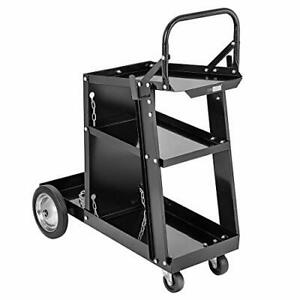 Iron 3 Tiers Rolling Welding Cart With Wheel And Tank Storage For Tig Mig Welder