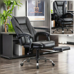 Executive Office Chair Leather Pu Swivel Desk Adjustable Height With Footrest
