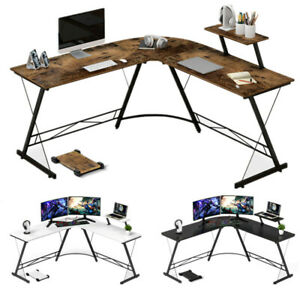 Home Office L shaped Corner Computer Desk 50 8 Pc Table Workstation Cpu Stand