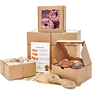 Premium 6x6x3 Inches Cookie Boxes With Window 50 Pack Extra Thick Oil