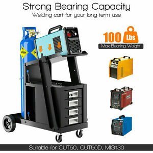 Welding Cart W 4 Drawers And Tank Storage For Mig tig Welder And Plasma Cutter