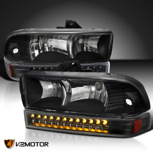 For 1998 2004 Chevy S10 Blazer Black Headlights Led Bumper Signal Lamps Pair