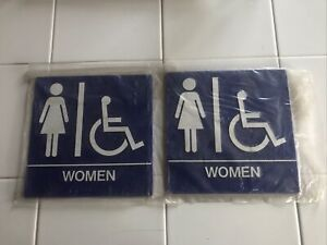 2 Restroom Sign Women chair Accessible 8x8 Blue White Raised Letters Braille