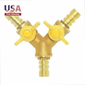 Y Type 3way Brass Cut off Ball Valve 3 4 Barb Od 2 Switch For Flow Upgrade