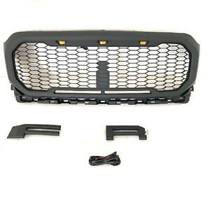 Front Grille For 2021 Ford F150 Raptor Style Black Grill Bumper W Led Letters