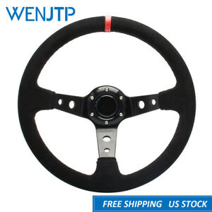 350mm Deep Dish 6 Bolt Red Racing Drifting Suede Steering Wheel With Horn Button