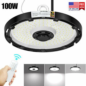 100w Led Ufo High Bay Ligh Fixture Wireless Dimmable Commercial Lighting 5000k