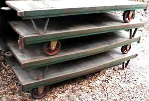 Antique Factory Railroad Industrial Cart Made By Fairbanks Cast Iron Wood Deck
