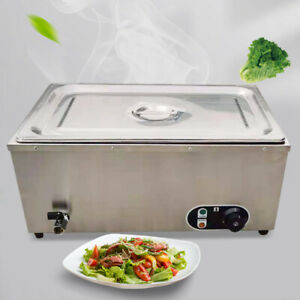 1200w Commercial Countertop Food Warmer Steamer Buffet Single pan Stainless 110v