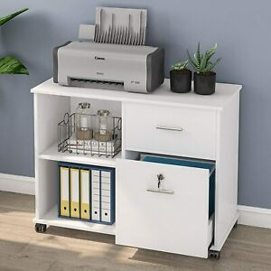 Tribesigns Rolling File Cabinet W 2 Drawer Mobile Lateral Filing Cabinet
