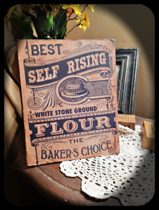 Primitive Distressed Kitchen Ad Sign On Canvas Baker Self Rising Flour 8x10
