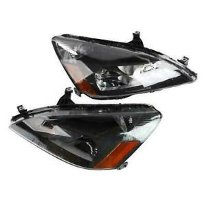 For 2003 2007 Honda Accord Sedan Coupe Pair Front Left Right Black Headlights Fits 2003 Honda Accord Coupe
