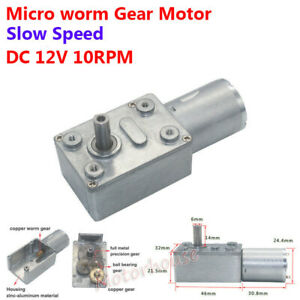 Dc 12v 10rpm Slow Speed Reduction 370 Turbo Worm Gearbox Gear Motor High Torque
