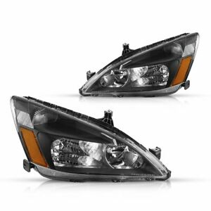 For 03 07 Honda Accord Black Housing Clear Corner Headlight Replacement Lamps Fits 2003 Honda Accord Coupe
