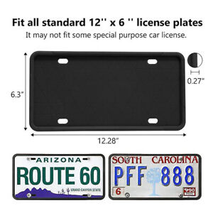 2 Packs Silicone License Plate Frames Holder Universal American Auto Black Frame