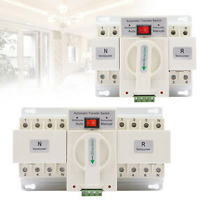 2p 63a Dual Power Automatic Transfer Switch Generator Changeover Switch 50 60hz