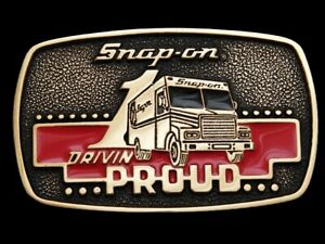 Mf17154 Nos Vintage 1989 Snap On Tools Drivin Proud Solid Brass Belt Buckle