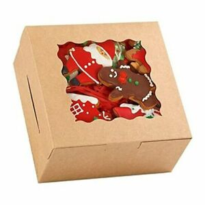 48pcs 6 Inch Brown Cookie Boxes 6x6x3 Inches With Window Kraft Paper Bakery