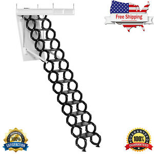 Electirc Acctic Ladder Aluminum Folding 15ft With Remote For Loft T08