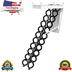 Electirc Acctic Ladder Aluminum Folding 12ft With Remote For Loft T08