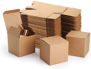 Jucoan 100 Pack Brown Paper Gift Box 3 X 3 X 3 Inch Small Cardboard Gift Boxes