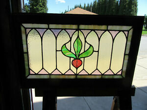 Antique Stained Glass Transom Window Colorful 32 X 20 Architectural Salvage