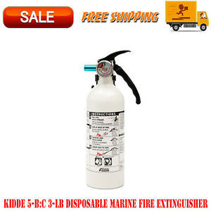 Kidde 5 b c 3 lb Disposable Marine Fire Extinguisher Wasy to pull Safety Pin