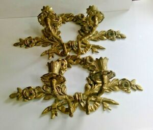 Floral Wall Candle Sconce 2 Arm Cast Brass