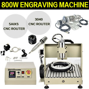 5 Axis 3040 Cnc Router Engraving Carving Machine 800w Vfd Metal Milling Machine