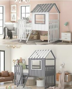 Twin Size Loft Bed House Bed W ladder Roof Wood Bed Frame Kids Bedroom Playhouse