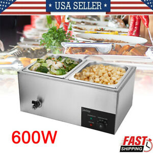 2cells Commercial Electric Food Warmer Buffet Kitchen Restaurant Countertop 600w