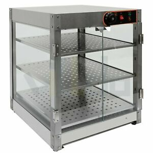 Electric Food Warmer Countertop Heated Food Display Cabinet Pizza Case 3 tier