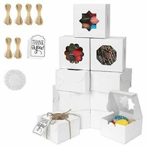 Bakery boxes with window 60 pcs cookie boxes 4x4x2 5 inches treat box for cup