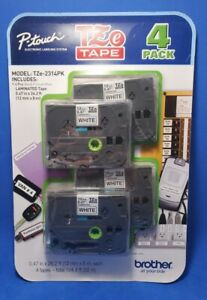 Brother 4 Pack P touch Tape Tze 2314pk Black Print On White Label