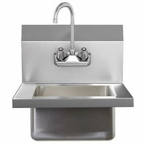 Commercial Wall Mount Washing Basin With Faucet Stainless Hand Wash Sink