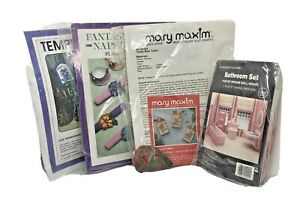 Vintage Needlepoint Canvas Lot of 4 Complete Kits Christmas Floral Dollhouse $35.00
