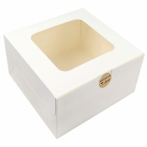Moretoes 24pcs 10x10x5 Inches Cake Boxes With Window White Paper Bakery Square