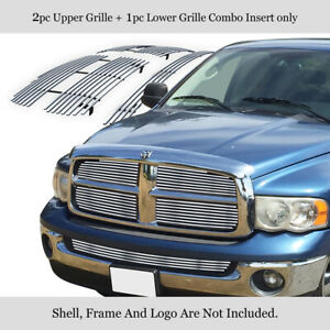 Fits 02 05 Dodge Ram 1500 2500 3500 Upper Lower Stainless Chrome Grille Combo