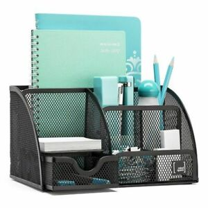 Desk Organizer Mesh Storage Ruler Pen Holder Clips Push Pins Container Stand