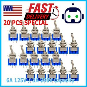 20pcs Mts 101 2 Position Mini Toggle Switch 2 Pin Spst On off 6a 250vac Us Stock