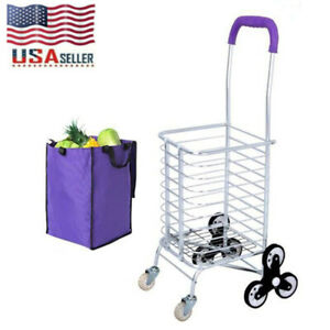 Stair Climbing Cart 8 Wheels Folding Grocery Laundry Shopping Handcart With Bag