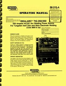 Lincoln Welders Idealarc Tig 250 250 Welding Power Source Owner Operating Manual