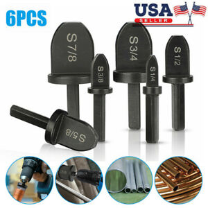 6pcs Air Conditioner Copper Tube Expander Swaging Tool Drill Bit Set Flaring Usa