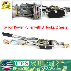 5 Ton Wire Rope Tightener Come A Long Winch Cable Hand Power Puller 3 Hooks New