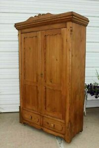 Primitive Pine Square Nail Armoire Wardrobe Whand Carved Swinging Wood Hooks Key