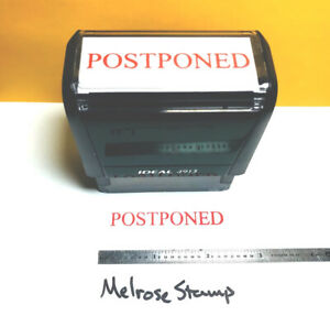 Postponed Rubber Stamp Red Ink Self Inking Ideal 4913