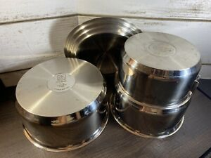MAGMA PRODUCTS 18 10 NESTABLE 4 PIECE INDUCTION COOKWARE NO Handle $39.99