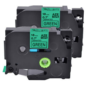 2pk Tz 741 Label Tape Black On Green Tze 741 For Brother P touch Pt d600 18mm