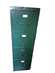 Anderson hickey Co Vintage Geneva Illinois File Cabinet 4 Drawer Mil Green 1